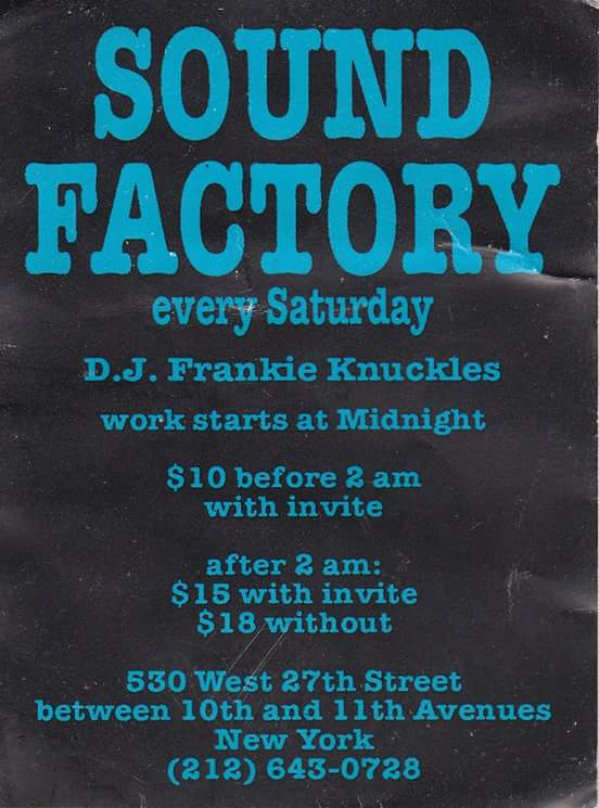 Frankie Knuckles Sound Factory flyer