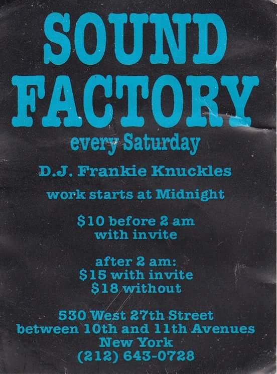 Frankie Knuckles Sound Factory flyer